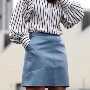 Zara Muted Blue Faux Leather Skirt